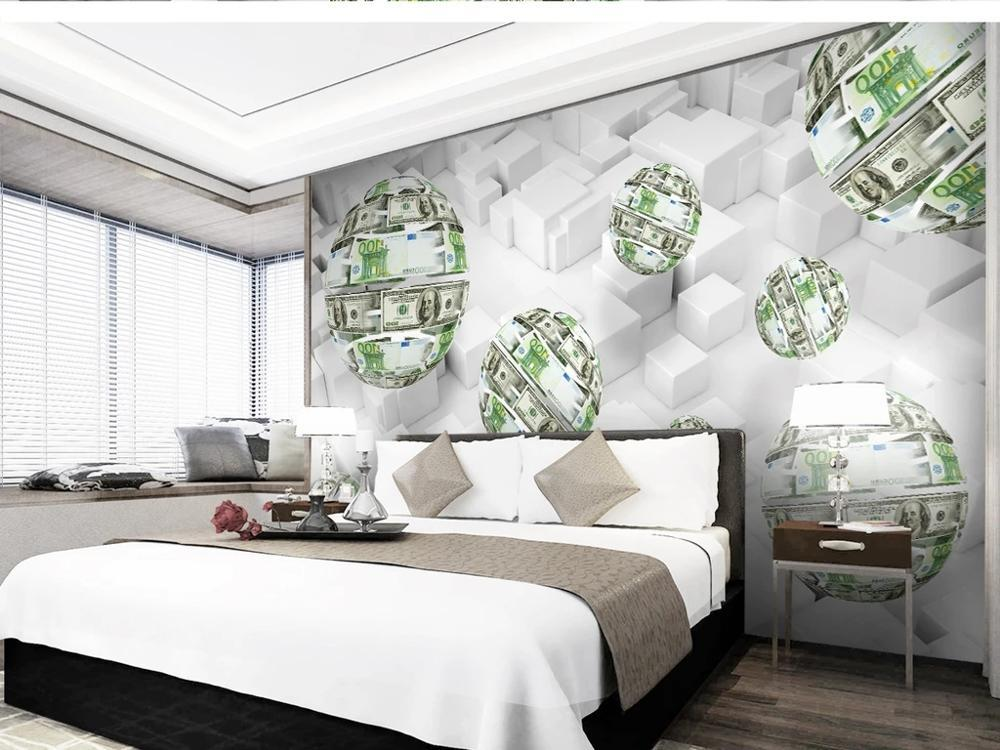 Custom large mural 3D wallpaper Modern creative 3D space abstract sphere money bedroom TV back wall roll home decor deep 5D embossed