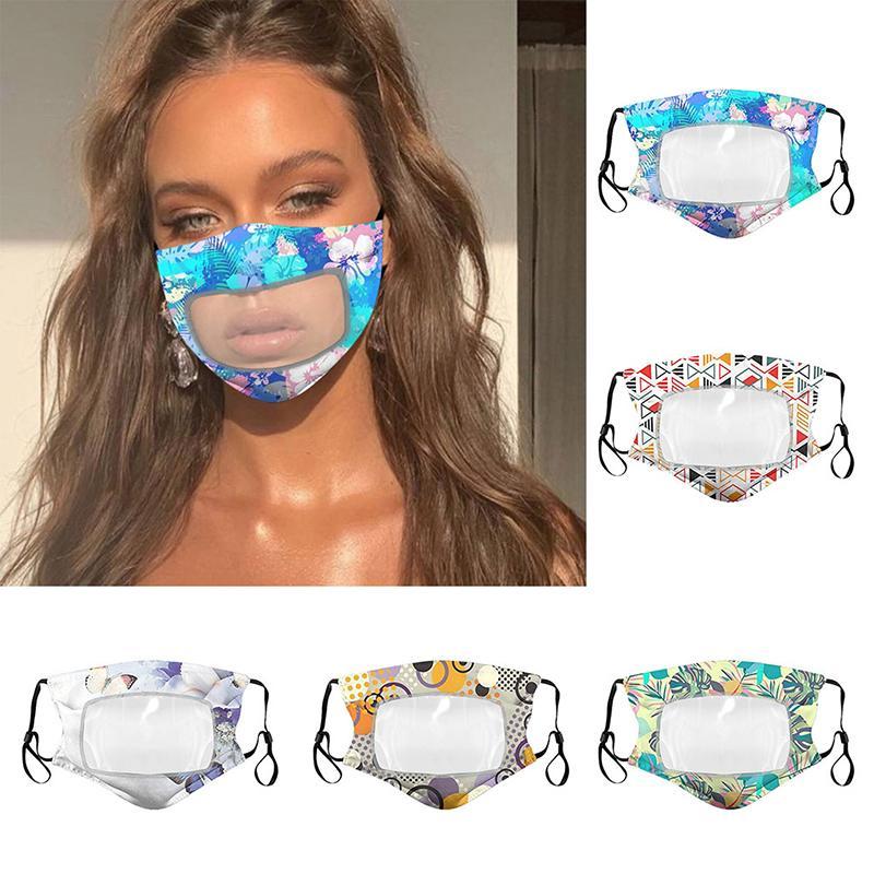 Modedesigner Gesichtsmaske Schutz für Erwachsene mit Klarsichtfenster sichtbar Cotton Mouth Gesichtsmasken waschbar und wiederverwendbar Mask
