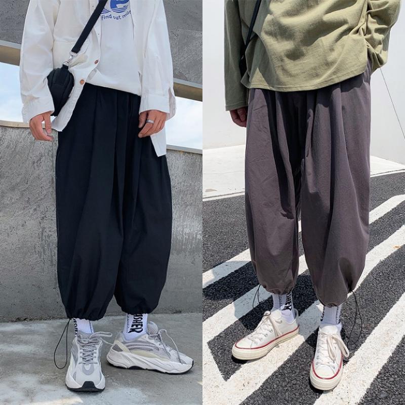 MIXCUBIC 2020 sarouel sauvages printemps été de style coréen hommes noirs occasionnels Pantalons lâche faisceau harems hommes pantalon, M-XXL