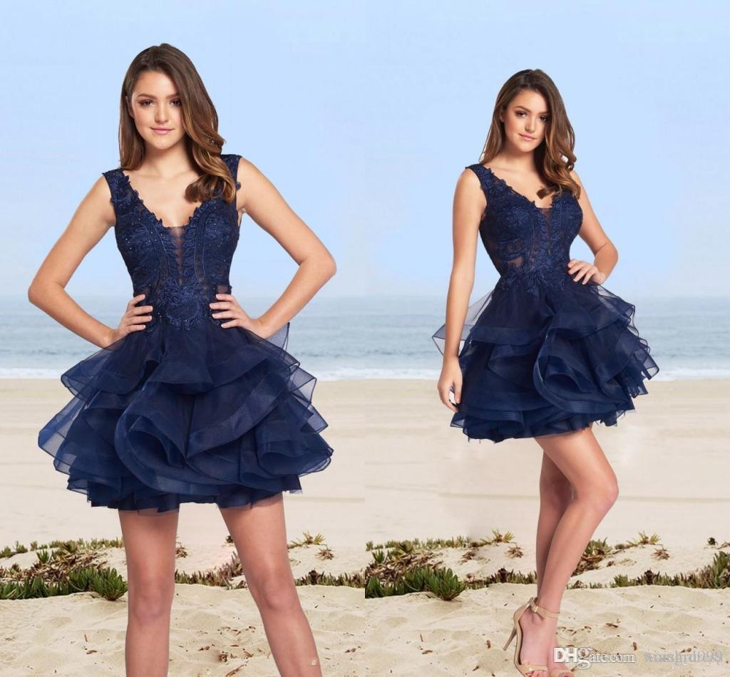 Waishidress Lacivert Gelinlik Modelleri Mini Kısa Illusion Derin V yaka Dantel Abiye Giyim Katmanlı Organze Örgün Parti Elbise