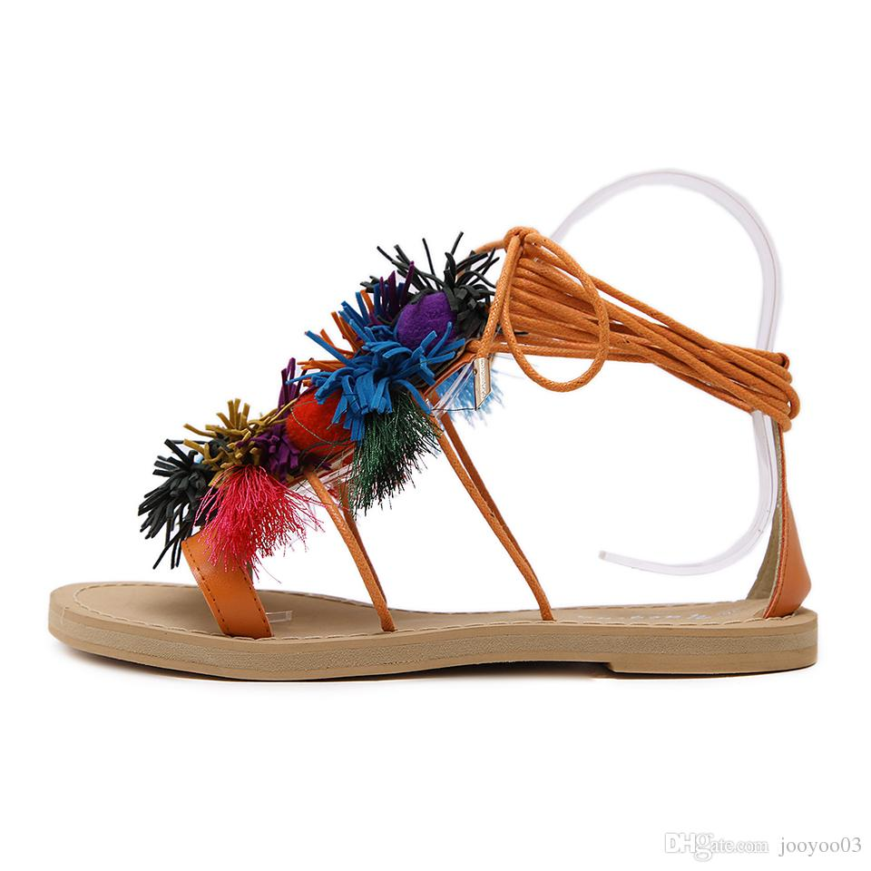 Summer New Color Tassel Ball Tie Flat Flat Comfortable Sandals National Wind Beach Women's Shoes jooyoo