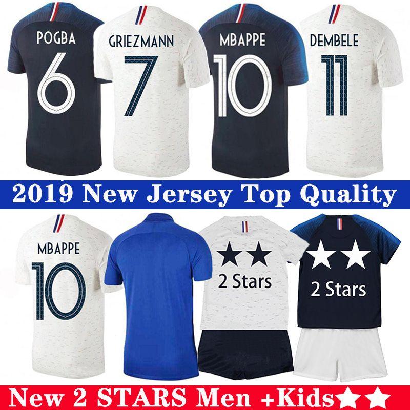 Mbappe Pogba 2-Sterne-Fußball-Jersey Griezmann Varane HERNANDEZ Fußball LEMAR Shirts Herren Kinder maillot de foot-Kit