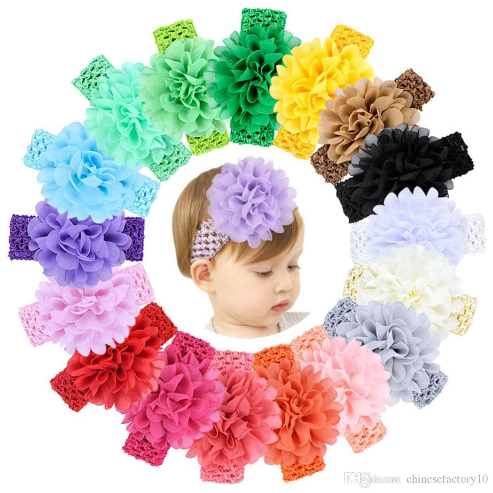 18 Color Baby Girls Headband Flower Hair Accessories Hair Band Baby Kids Cute Designer Headdress Hoop