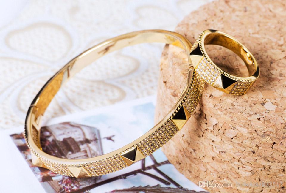 gioielli Donia europea e della moda esagerazione americana geometria classica micro intarsi regalo dell'anello del braccialetto di Zirconia dell'anello del braccialetto delle donne stabilite