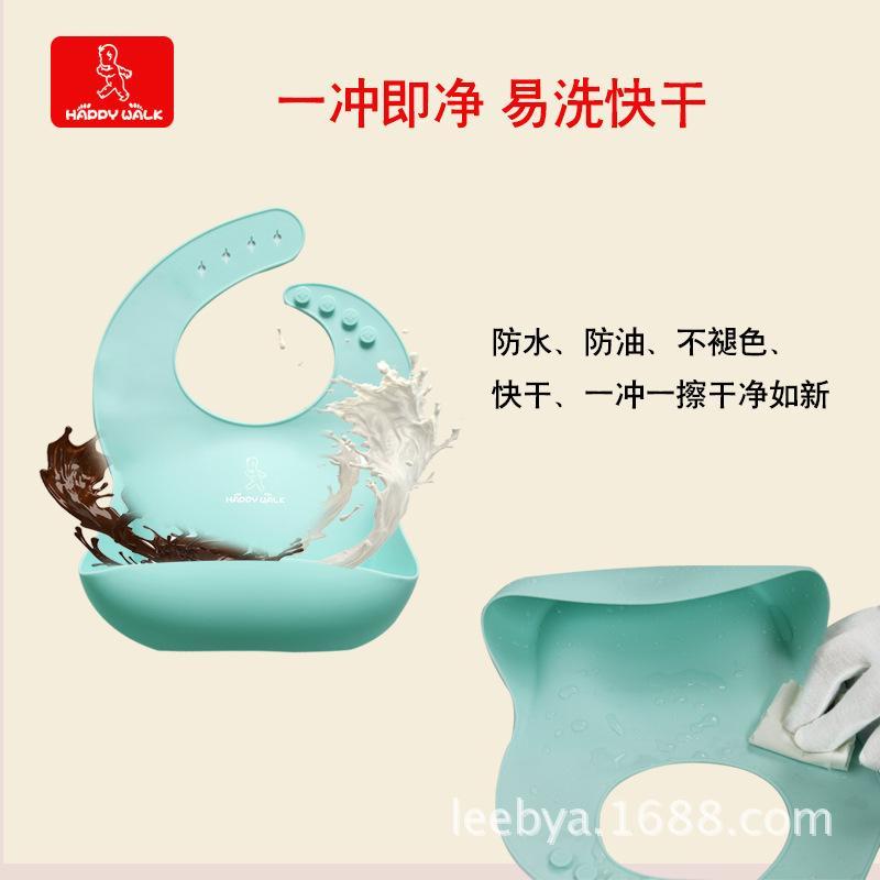 Grado de silicona estéreo del babero de la suciedad de arroz de bolsillo plegable para niños babero babero impermeable