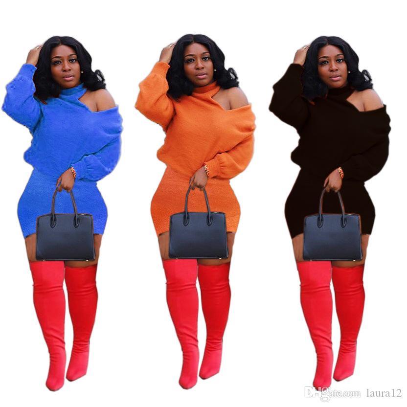 Новые стили Женщины выдалбливают плеча платье пересекали Backless Длинные рукава Холтер шеи Sexy оболочки Короткие Повседневные платья 2020 Hot Sale Sp