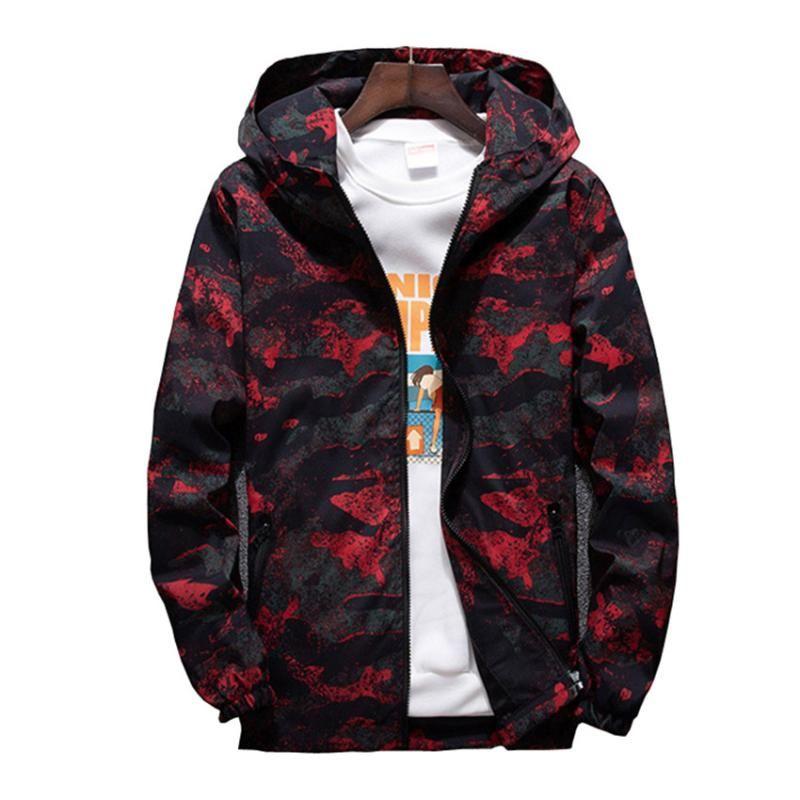 2020 chaquetas para hombre de la chaqueta de bombardero camuflaje piloto informal rompevientos Outwear otoño del resorte de peso ligero con capucha de la cremallera ropa 7XL