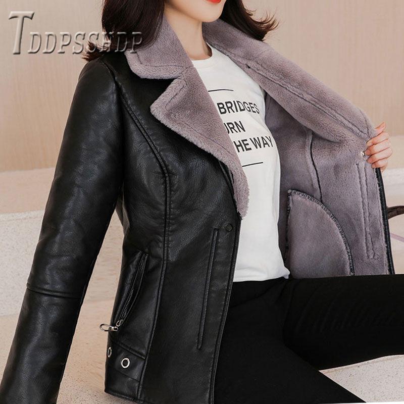 2019 cuero de la PU y abrigo de invierno de las mujeres Pelusa caliente grueso de la chaqueta a prueba de viento de imitación de lana de cordero Mujer