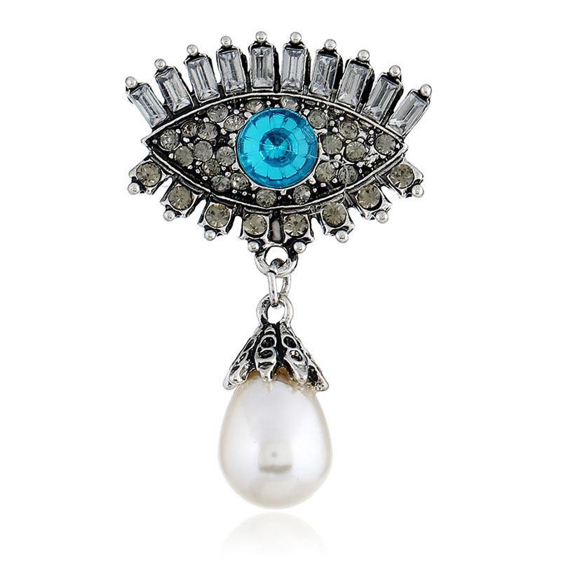 Spilla moda europea e americana gioielli moda occhio personalità retrò perla intarsiato in lega di diavolo occhio spilla accessori spilla