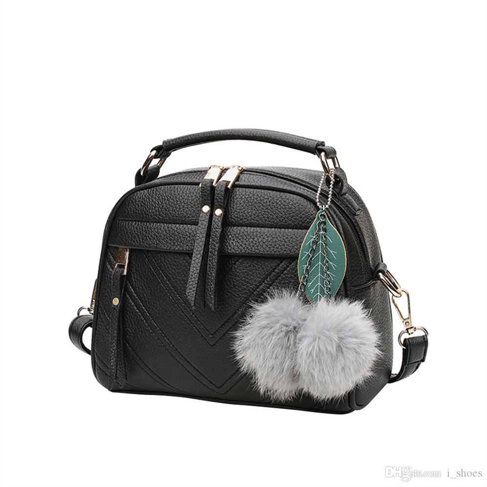 Women bag 2019 Women's Leather Handbags Luxury Lady Hand Bags With Hair Ball Pendant Female Messenger Bag Big Tote #Zer #151326