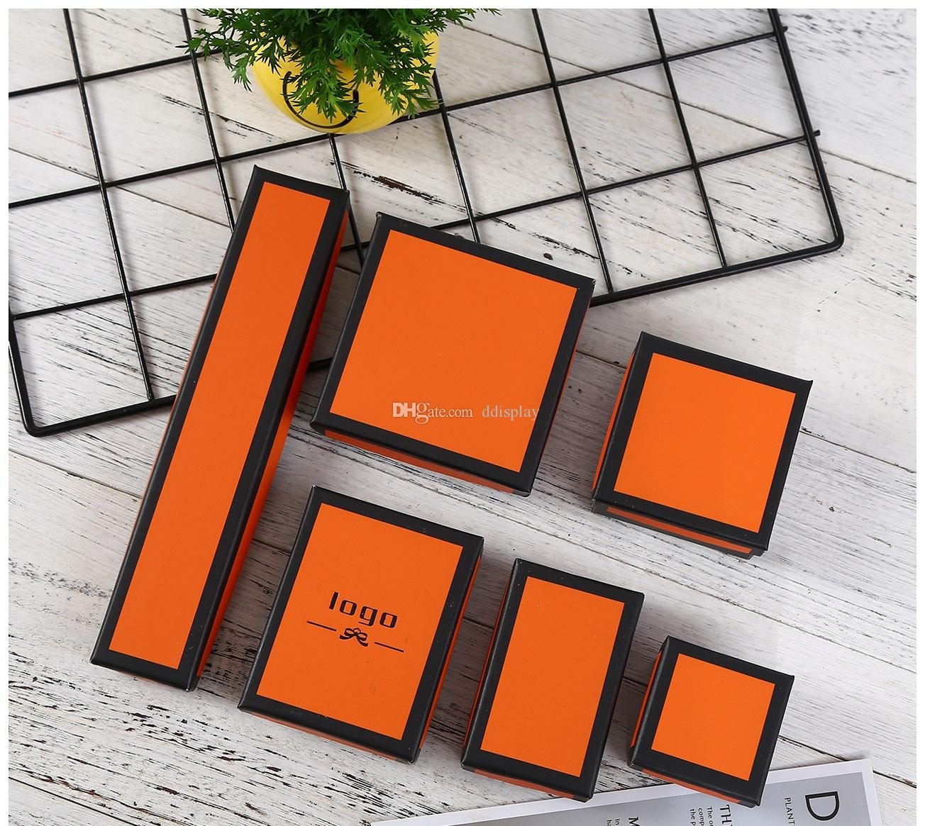[DDisplay] 크리 에이 티브 OrangeBlack 보석 선물 상자 글 래 머 링 상자 월별 귀걸이 작은 쥬얼리 디스플레이 검은 국경 목걸이 패키지 상자