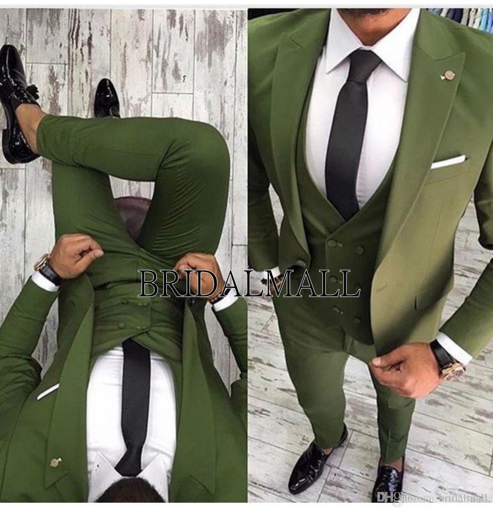 2019 Dernières Manteau Pantalon Designs Costumes Vert Mens Slim Fit 3 Pièces Tuxedo Groom style Costumes dîner costumes d'affaires Prom Party Blazer TERNO
