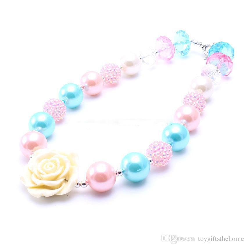 Hot Ivory Color Rose Flower Kid Chunky Necklace Fashion Pendant Bubblegum Bead Chunky Necklace Children Jewelry For Toddler Girls