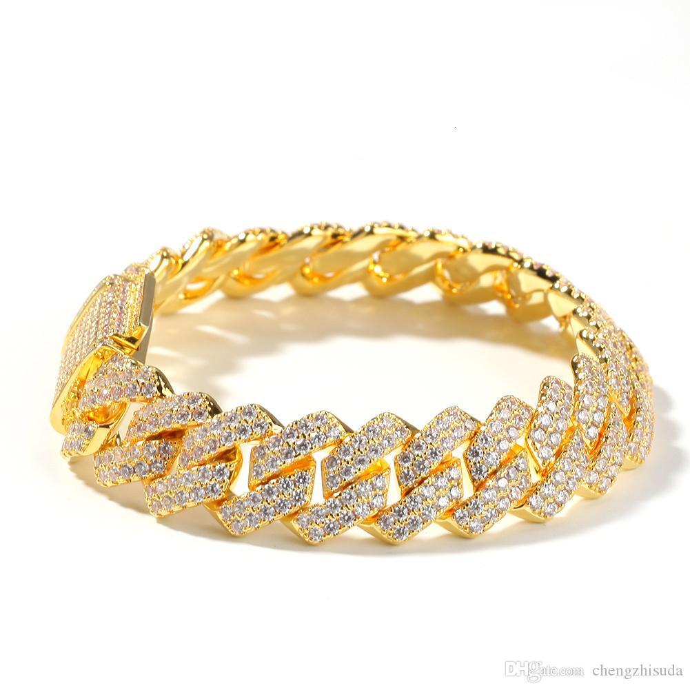 14mm borda reta link cubano corrente pulseira tênis ouro prata gelado fora cúbico zircônia hiphop homens jóias