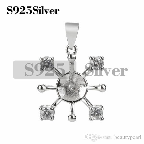 Four CZ Stone Pendant Settings 925 Sterling Silver Blanks for Making Jewelry DIY Pearl 5 Pieces