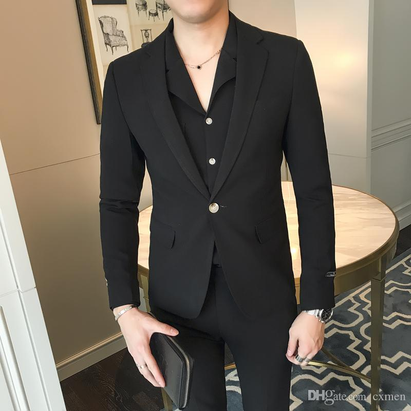 Custom Made Black Men Blazers Suit Slim Fit Men Suits 2 Pieces Jacket+Pants Handsome Groom Tuxedos Formal Business Prom Wear Party