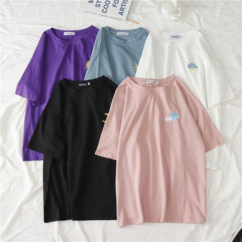 2020 Blanca ins super fire de manga corta T- Calzoncillos T- camisa estudiante femenina floja de la moda versátil medio de manga camisa de la base