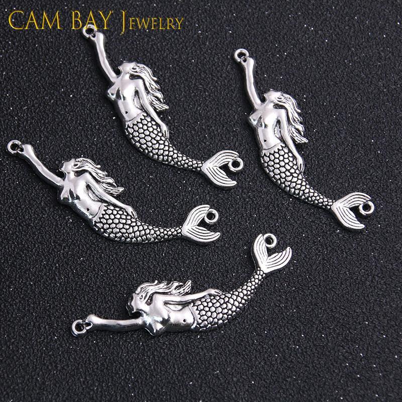 100шт 60 * 14мм сплава Mermaid Подвески металлические подвески для DIY Ожерелье Браслеты Изготовление ювелирных изделий ручной работы Crafts
