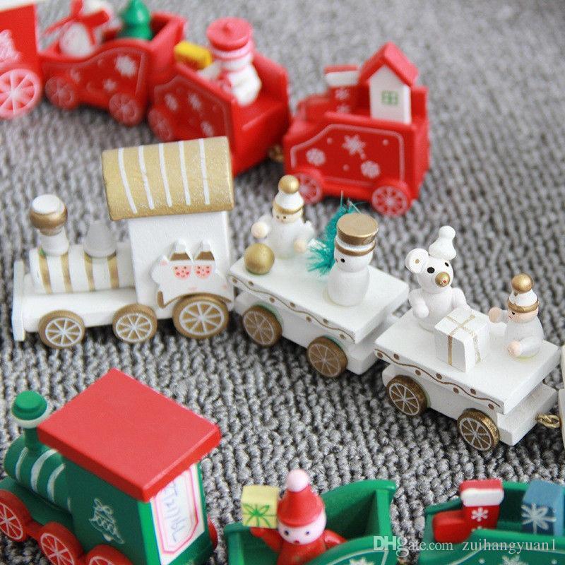 Nouveau bois peint en train de Noël avec Noël jouets enfant ornement cadeau de Noël décoration pour le cadeau du nouvel an à domicile