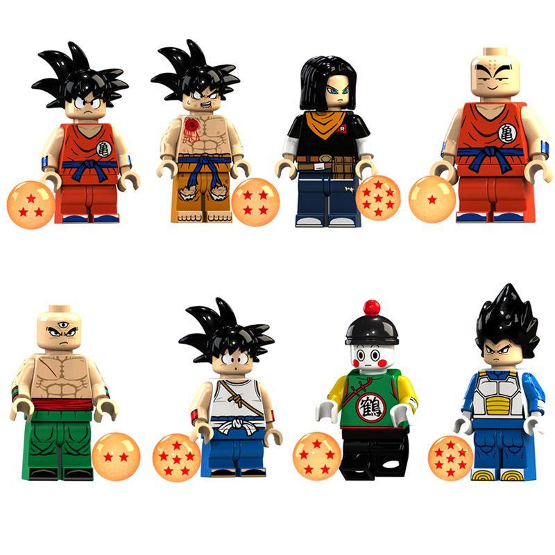 Educational Dragon Ball Z Super Saiyan Son Goku Vegeta Krillin Chiaotzu Tien Shinhan Bardock Mini Toy Figure Building Block