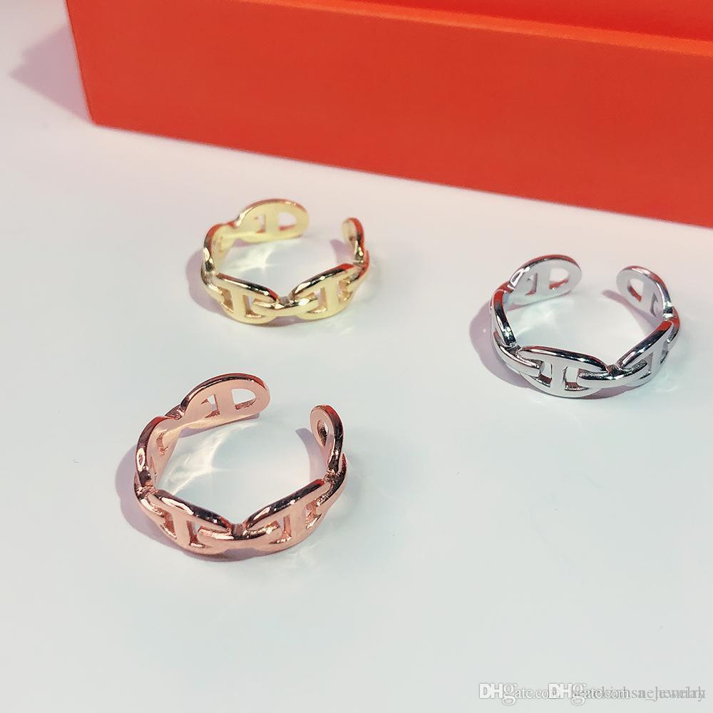 Vente chaude S925 Argent classique pour les femmes Lettre ronde Simple Bijoux Bague France Qualité d'or Rose d'or de qualité supérieure H Anneaux
