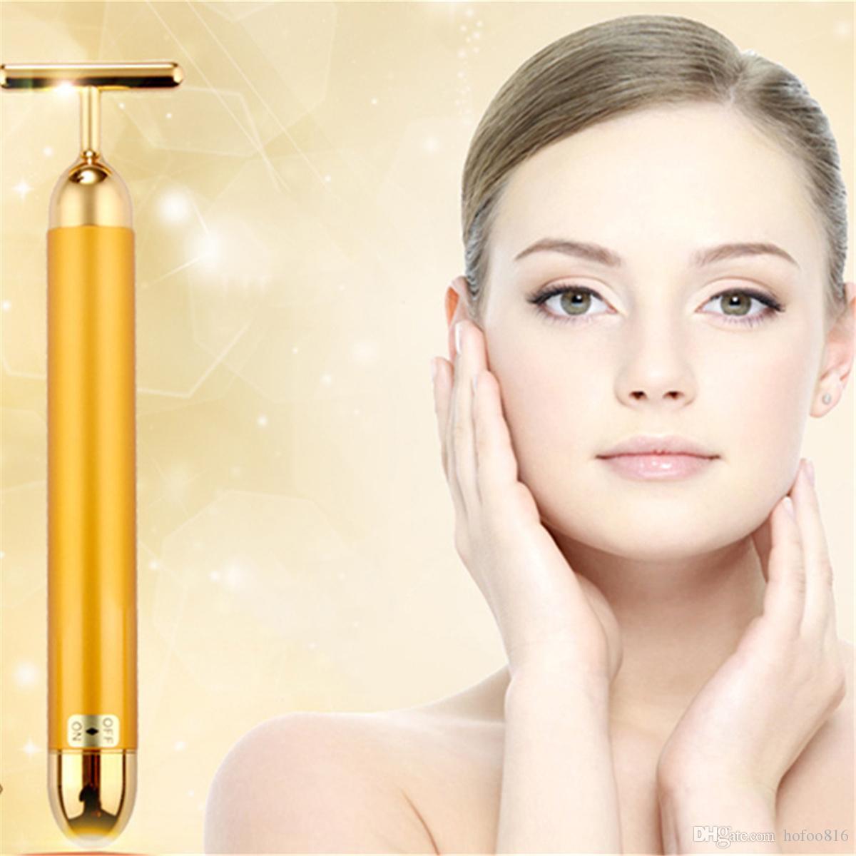 24K золото красоты бар бар электрический ролик вибрации глаз лицо массажер против морщин подтяжка кожи Уход за кожей устройство