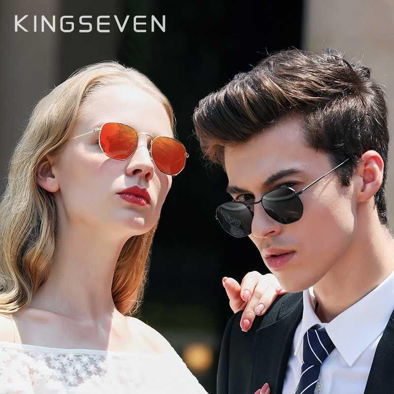 KINGSEVEN  Classic Reflective Sunglasses Men Hexagon Retro Sun glasses Stainl...