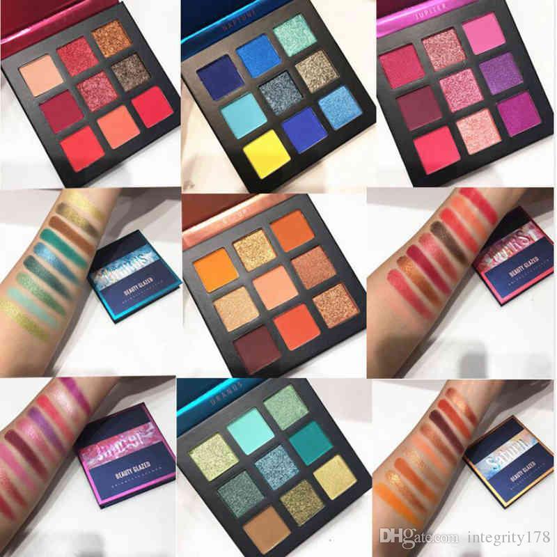 Beleza vitrificada composição Pallete pincéis de maquiagem 9 paleta de cores Make up Palette Shimmer pigmentado Sombra maquillage