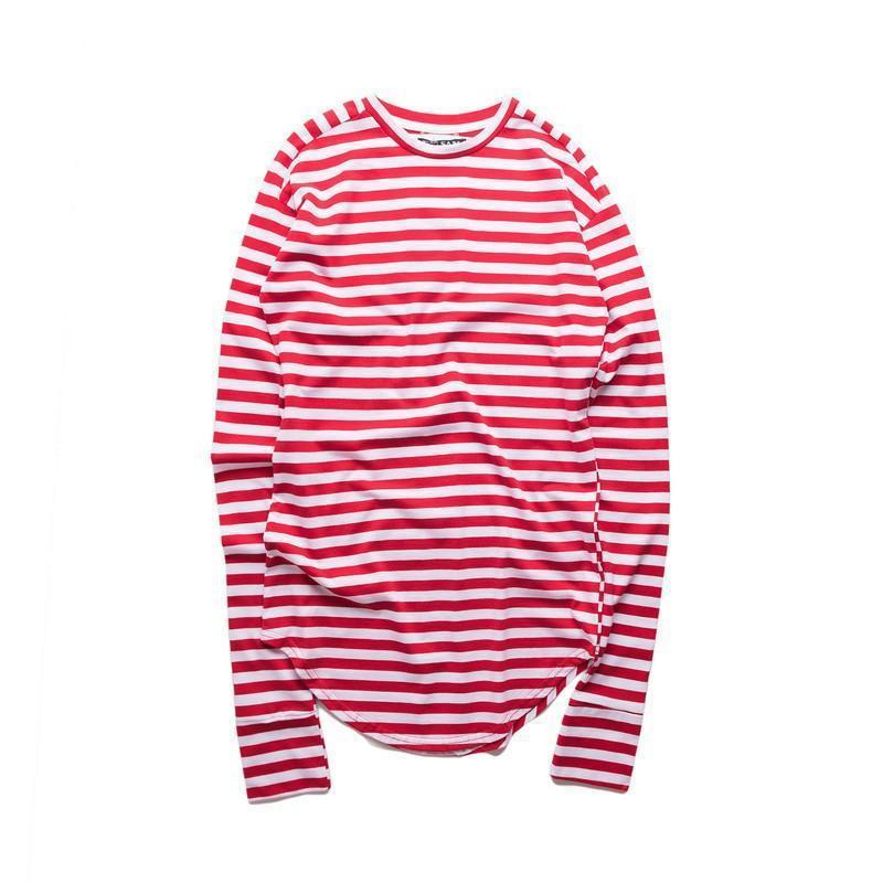 Striped Hip Hop T-Shirt Men Long Sleeve Wrist Hole Spring Basic Extended Urban Tshirt Men Curved Hem Kpop Men 'S Tee Shirt Perfect