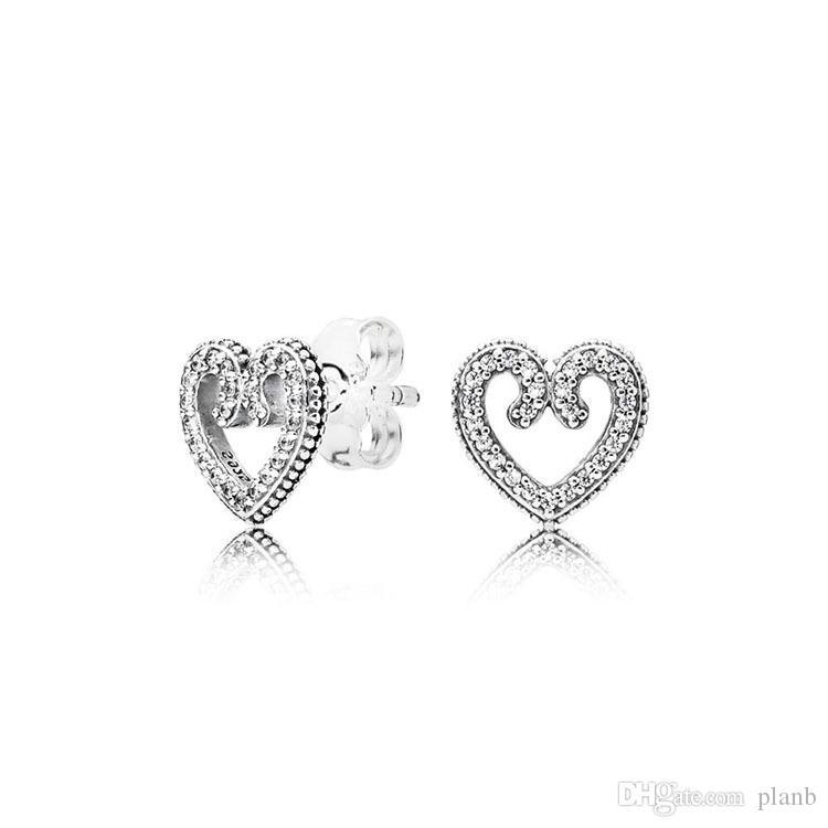 925 mulheres de prata autêntica amor coração brincos para pandora cz jóias de casamento diamantes brinco com conjunto de caixa original