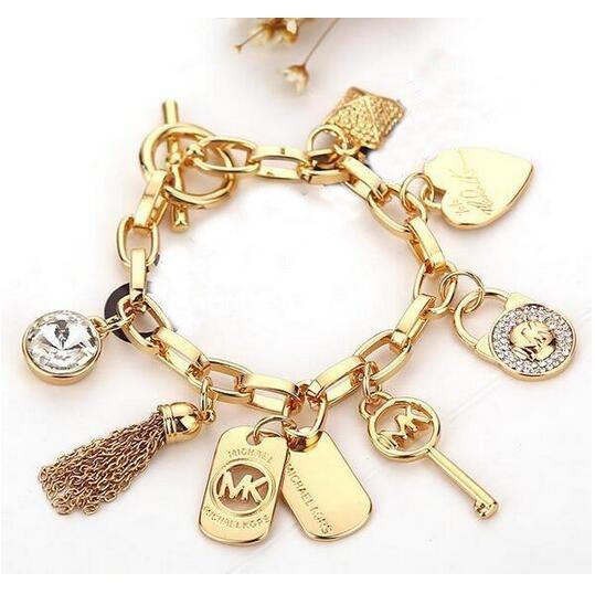 Modedesigner Rhinestone-Troddel Armband Brief-Schlüssel-Herz-Charme-Kettenarmband für Frauen-Dame Schmuck