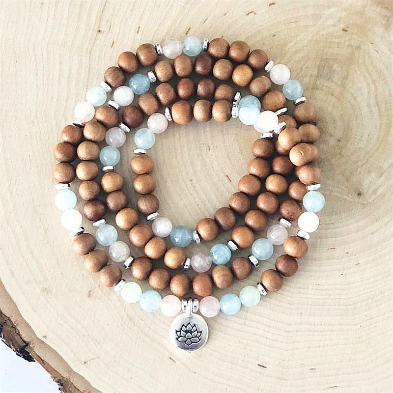 108 Wrap Mala Bracelet Wrist Mala Healing Bracelet Sandalwood Buddha Bracelets Stretch Necklace 5 Laps Bracelets Yoga Jewelry