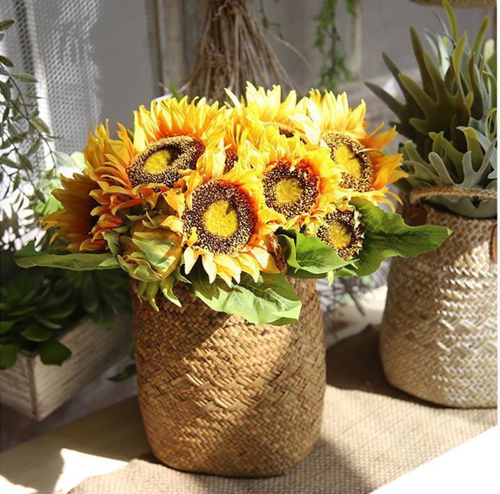 Yellow  Silk Sunflower Wedding Decoration Artificial Flower Fake Flores Bouquet