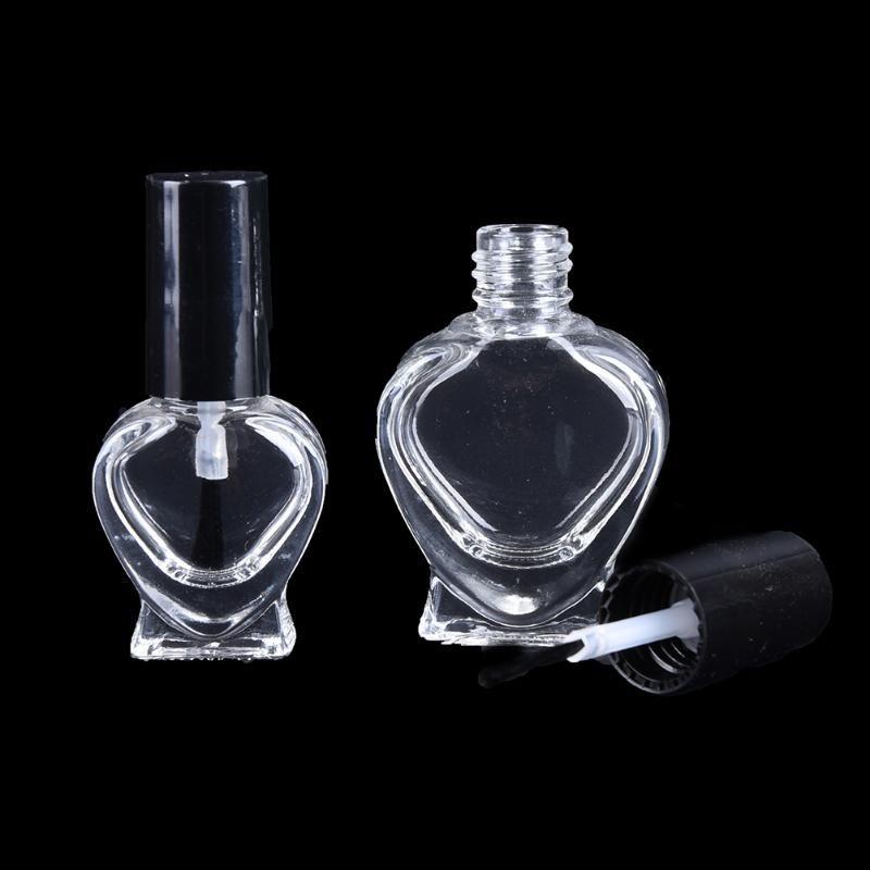 5ml Art contenitore trasparente portatili bottiglie di olio di vetro / 10ml Vuoto Nail Polish cuore della bottiglia di figura piccola spazzola per unghie