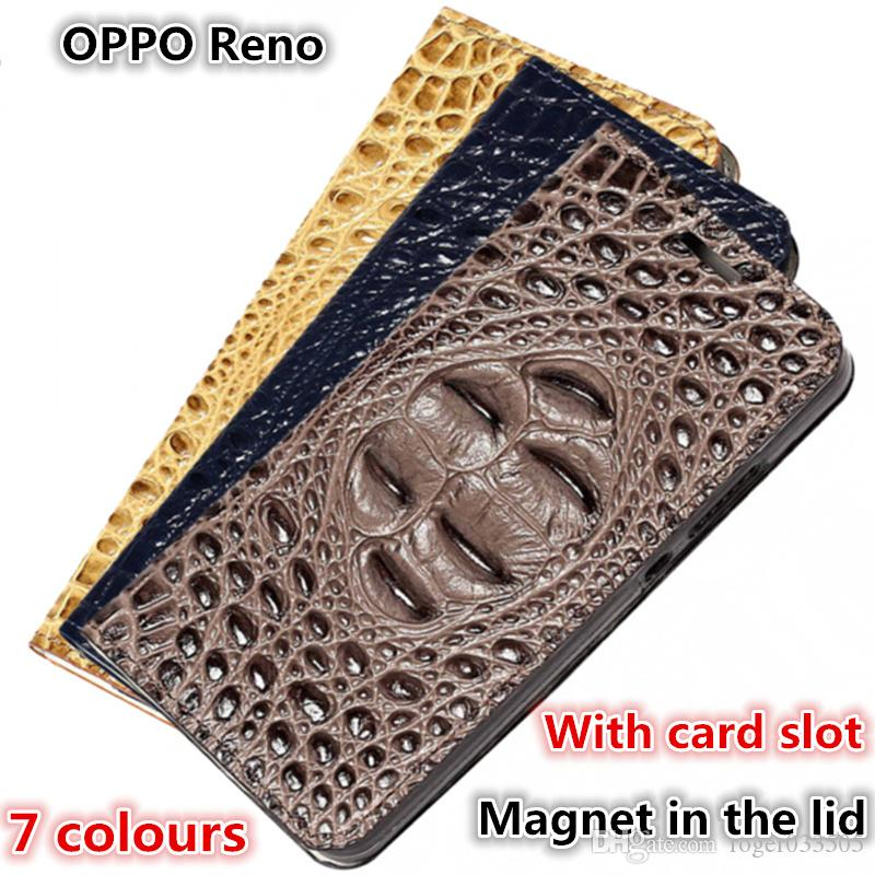 QX12 Crocodile Back Pattern Gneuine Leather Phone Bag Fundas For OPPO Reno Magnetic Phone Case Kickstand OPPO Reno Case