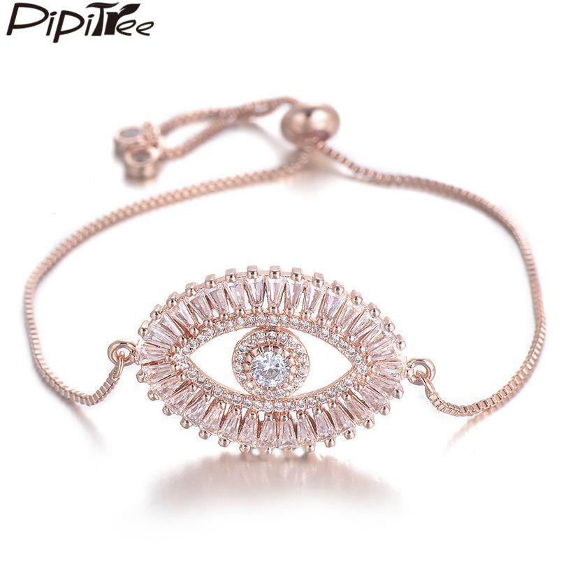 Pipitree Grande Evil Eye Charm Bracelet por Mulheres brilhante princesa Corte Cubic Zircon CZ Pulseiras Bangles Cobre Jóias
