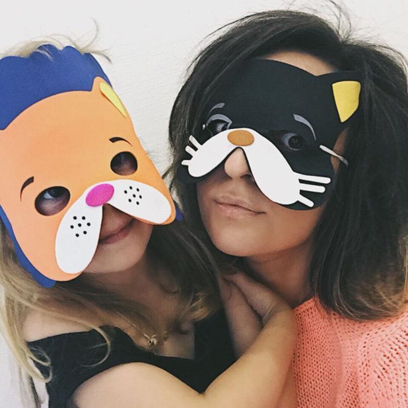 12 Pcs / Mask Forma animal do monte Handmade Crianças para Crianças Partido Decoração da máscara aleatória Mixed Halloween meia máscara protectora