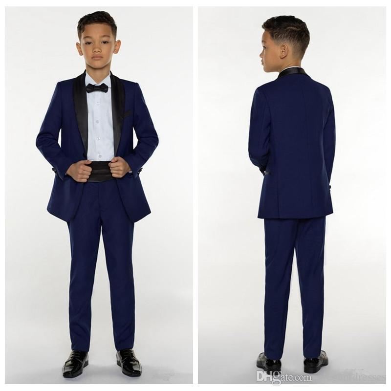 2020 웨딩 턱시도를위한 공식적인 소년 착용 턱시도 아이들 맞춤 이벤트 슈트 (자켓 + 바지 + 활)