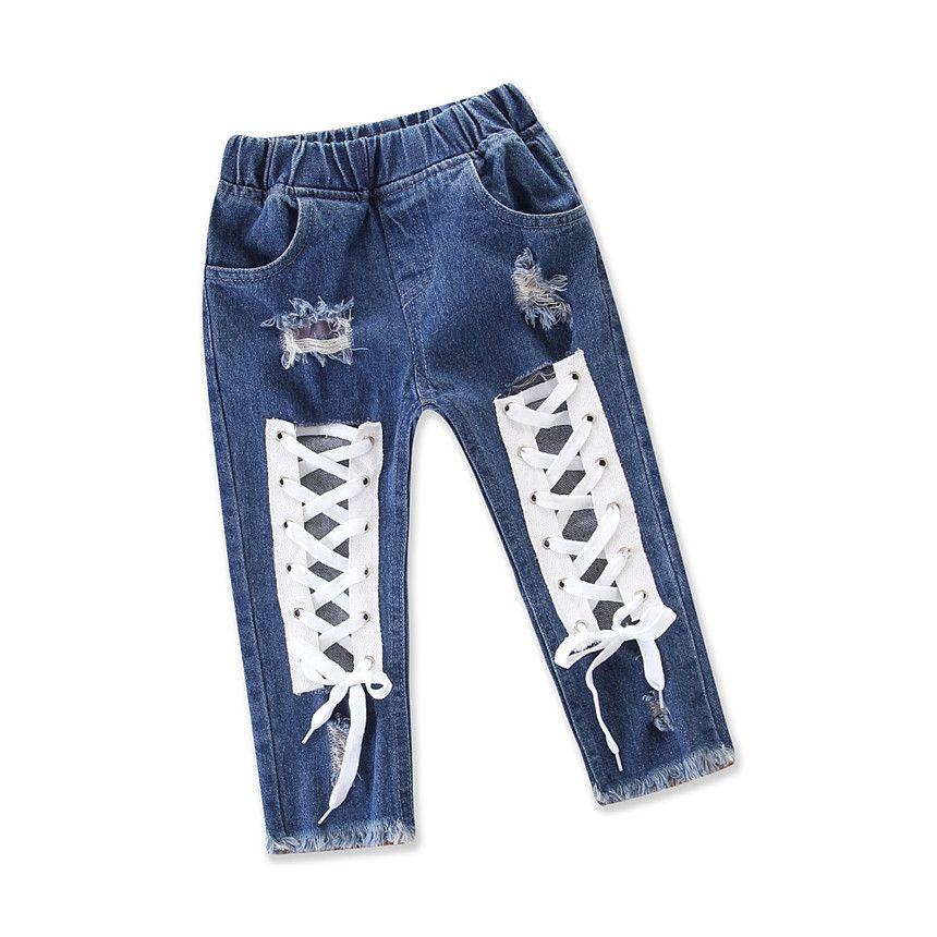 Baby Fashion Girls Jeans fresco vendaje Agujero Pantalones niños Denim Pantalones Niña Niña Ropa casual Ropa para niños Tamaño 1-5y