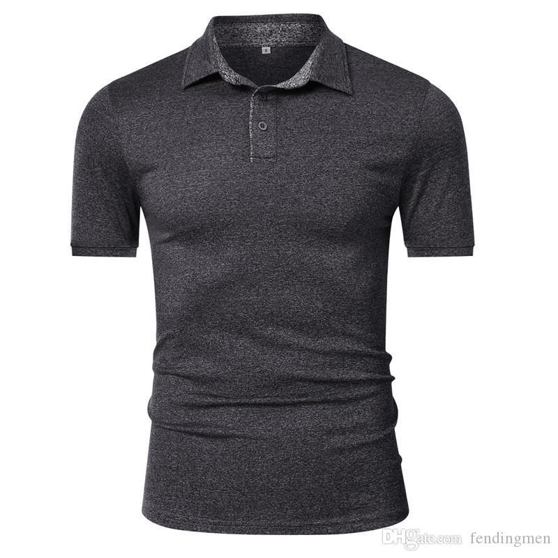 Плюс Размер Мужские Дизайнерские Поло Модный Деловой Стиль Твердые Быстросохнущие Тонкие Рубашки Поло Повседневные Мужские Офисные Тройники