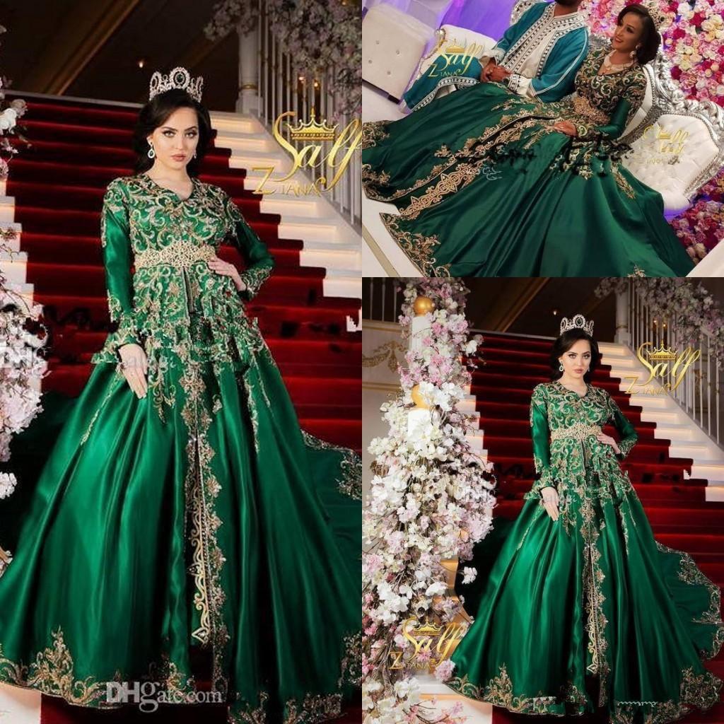 Emerald Green Muslim Abendkleider tragen V-Ausschnitt, lange Ärmel Sparkly Gold-Stickerei-Spitze-wulstige plus Größe Partei-Abschlussball-Kleider