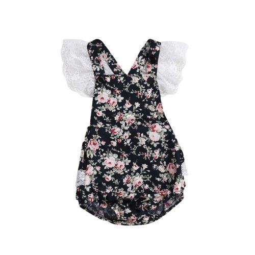 0-24М новорожденных Infant Baby Girl Цветочные Ромпер рукавов Backless Комбинезон женский пляжный костюм Outfit