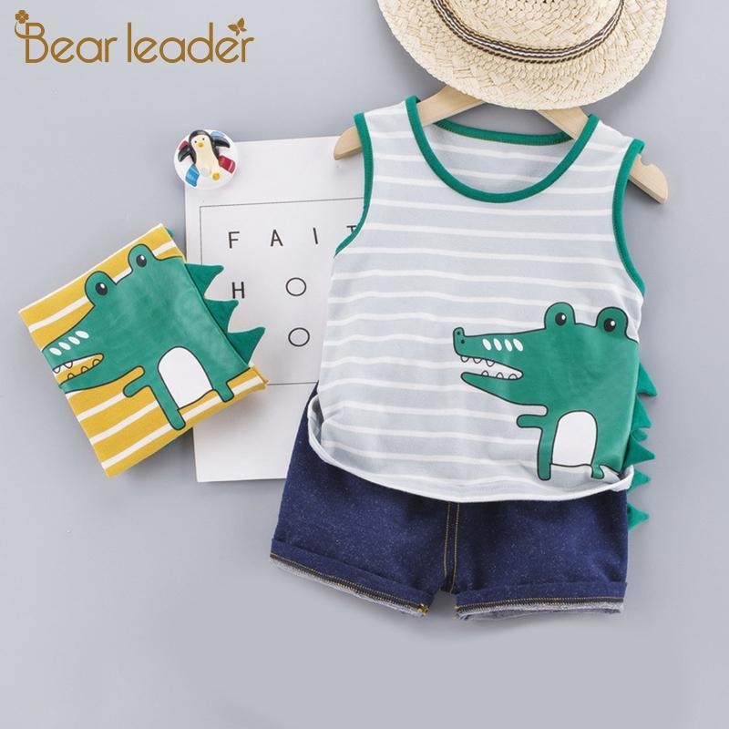 Ayı Lider Sevimli Bebek Boy Yaz Seti Yeni Karikatür Çocuk Bebek Boys Giyim Bebek Boy Giyim için Kısa Gömlek Pantolon yazdır