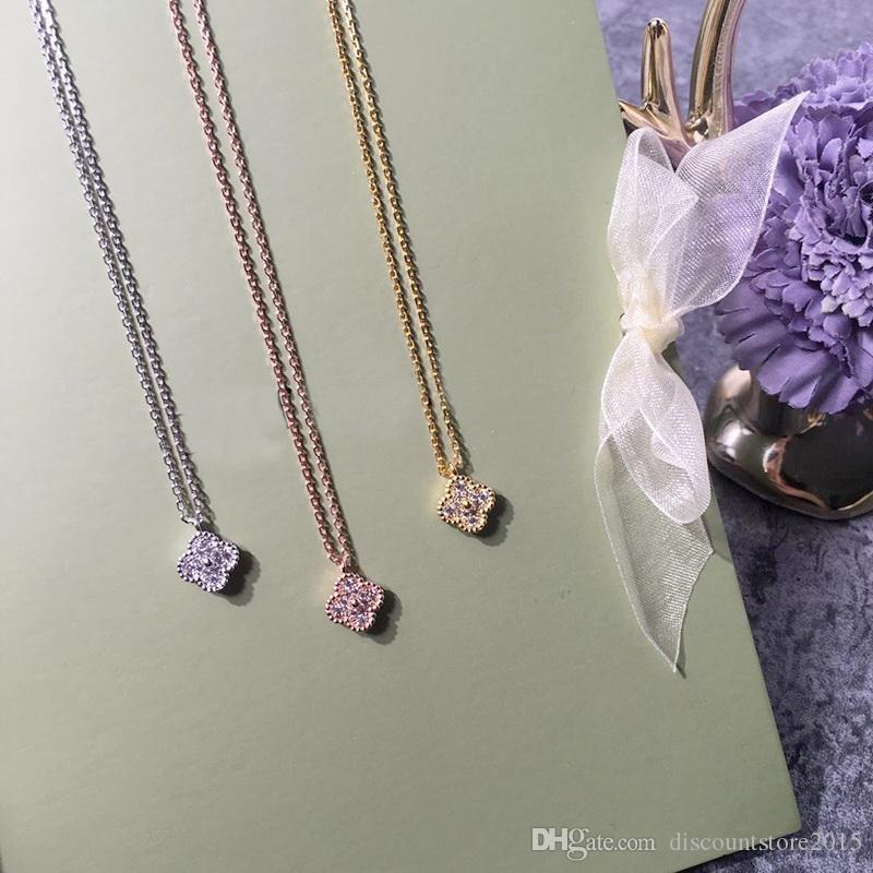 أوروبا أمريكا أزياء سيدة النحاس البسيطة الزخارف واحدة الماس كامل أربعة أوراق الزهور قلادة 18 كيلو مطلي الذهب القلائد 3 اللون 0.8 سنتيمتر