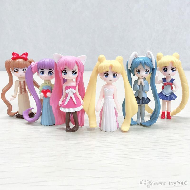 6 Stil Sailor Moon Aksiyon Figürler Ay Güç Pvc Modeli Anime Koleksiyonu Çocuk Hediye Oyuncak Çocuk doğum günü partisi Kek dekorasyon oyuncaklar
