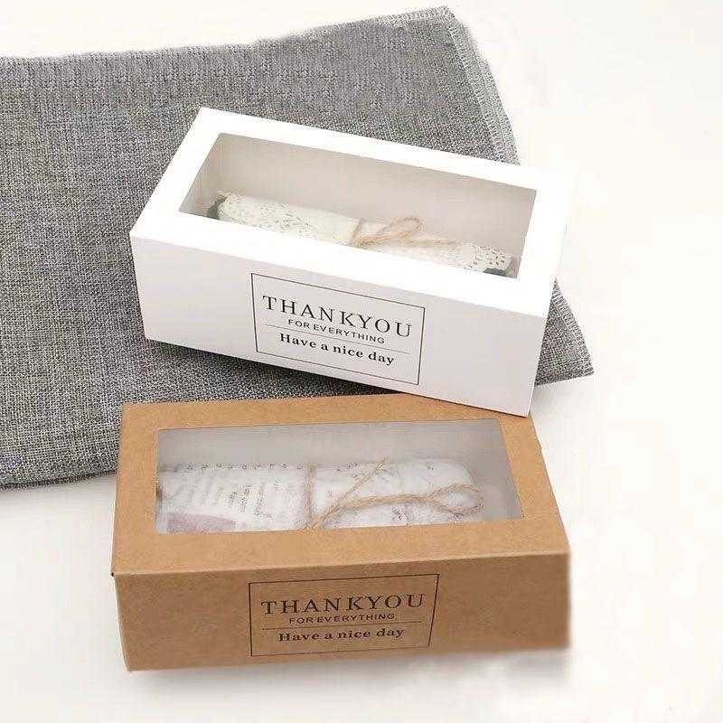 50pcs / lot Merci coffrets cadeaux papier kraft tiroir blanc boîte de papier gâteau de forme avec l'emballage d'affichage de fenêtre transparente pour la boulangerie