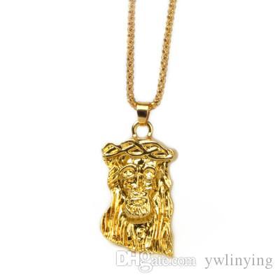 Man Jesus Head Pendant Necklace God Bless Hip Hop Golden Accessories Hip Hop Necklace Electroplated Corn Chain