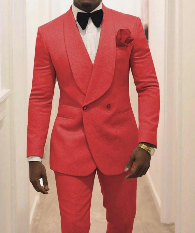 Chegada Nova Groomsmen xaile lapela noivo smoking Red Pattern Men ternos de casamento / Prom melhor homem Blazer (jaqueta + calça + gravata) Z43