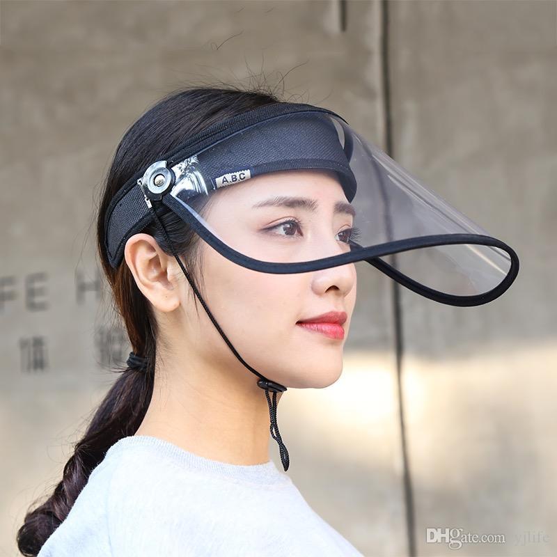 Moda Transparente Limpar Segurança Anti-respingo Rosto máscara protetora máscara protetor facial Anti Spitting Ears Facial Proteção Tampa viseira Chapéus