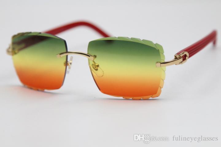 Lente in stile verde senza montatura 2020 3524012 Occhiali Occhiali Occhiali da sole Moda Plancia rossa intagliata Donne Occhiali da uomo Nuovo oro rosso Nuovo Guida in vetro XGVM